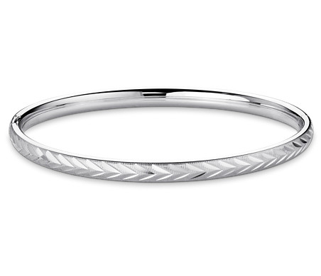 Engraved Herringbone Bangle Bracelet in Sterling Silver