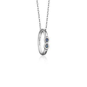 Collier bague Poesy «Eternity» Monica Rich Kosann avec saphir bleu en argent sterling (1,2mm)
