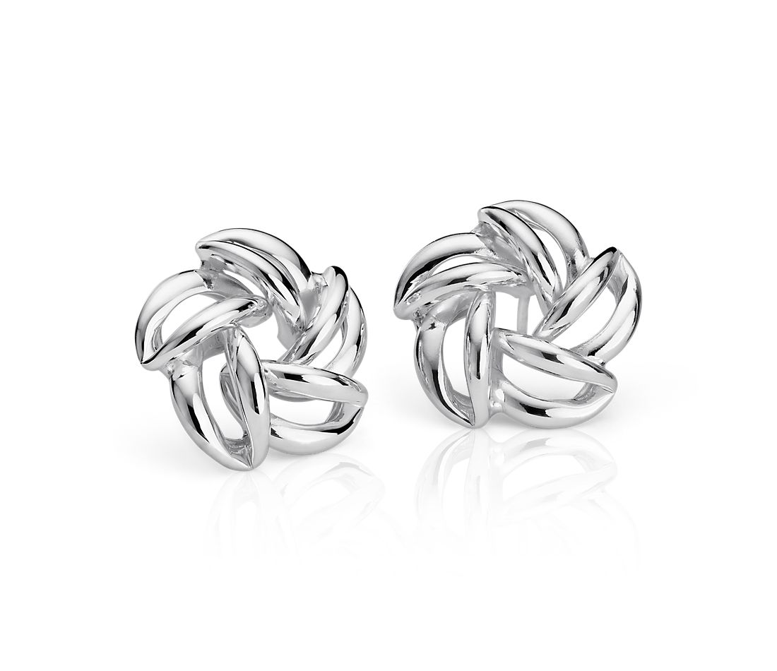 Open Flower Stud Earrings in Sterling Silver