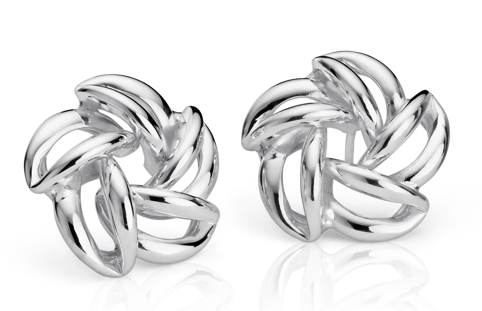 Open Flower Stud Earrings in Sterling Silver