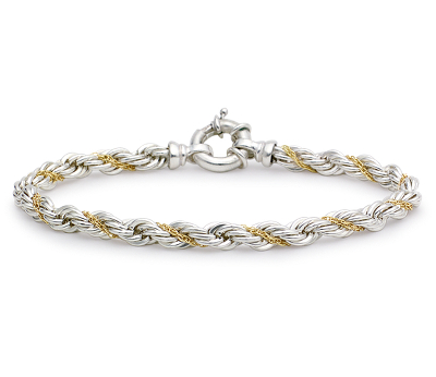 Rope Chain Bracelet in Sterling Silver and 18k Gold Blue Nile