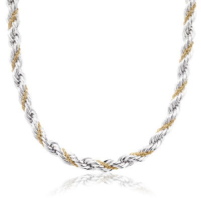 Rope Chain Necklace in Sterling Silver and 18k Yellow Gold Blue Nile