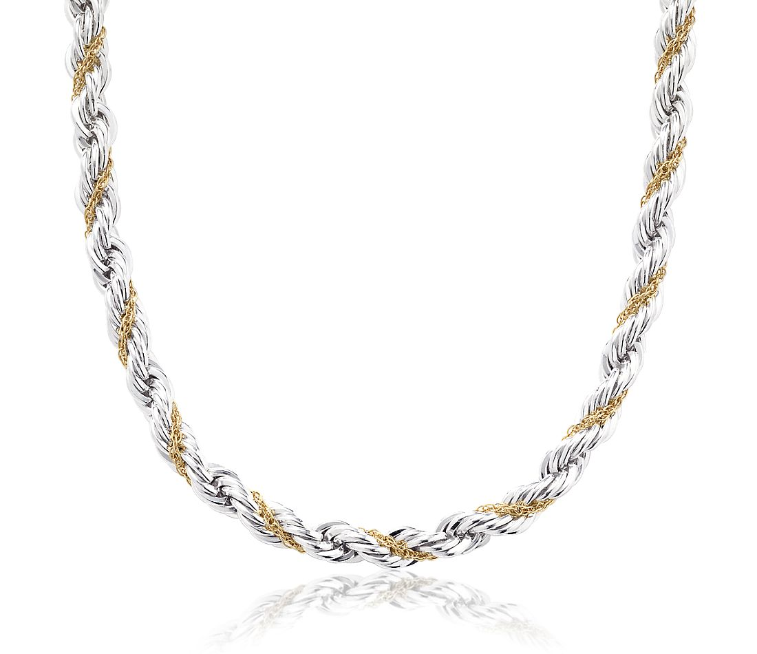 rope chain necklace in sterling silver and 18k yellow gold. Black Bedroom Furniture Sets. Home Design Ideas