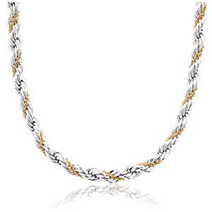 Collar con cadena enlazada en plata de ley y oro amarillo de 18k