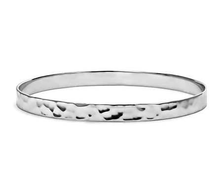Hammered Bangle in Sterling Silver