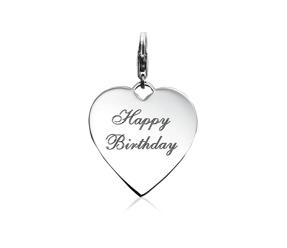 Engravable Happy Birthday Heart Charm in Sterling Silver