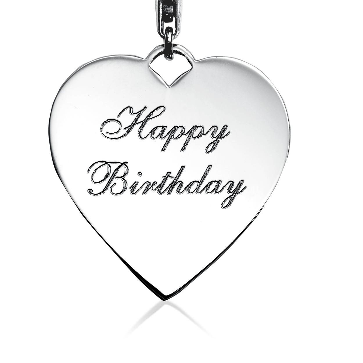 Breloque cœur Joyeux anniversaire à graver en argent sterling