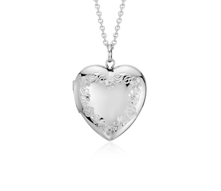Floral Engraved Heart Locket in Sterling Silver