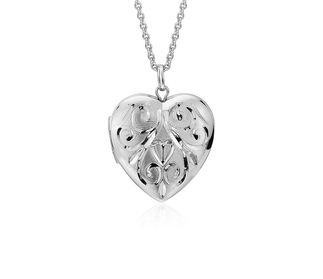 Hand Engraved Heart Locket In Sterling Silver Blue Nile