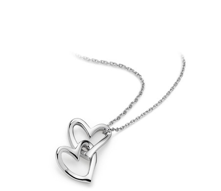 pendant necklace diamond double silver dp accent com quot amazon sterling heart
