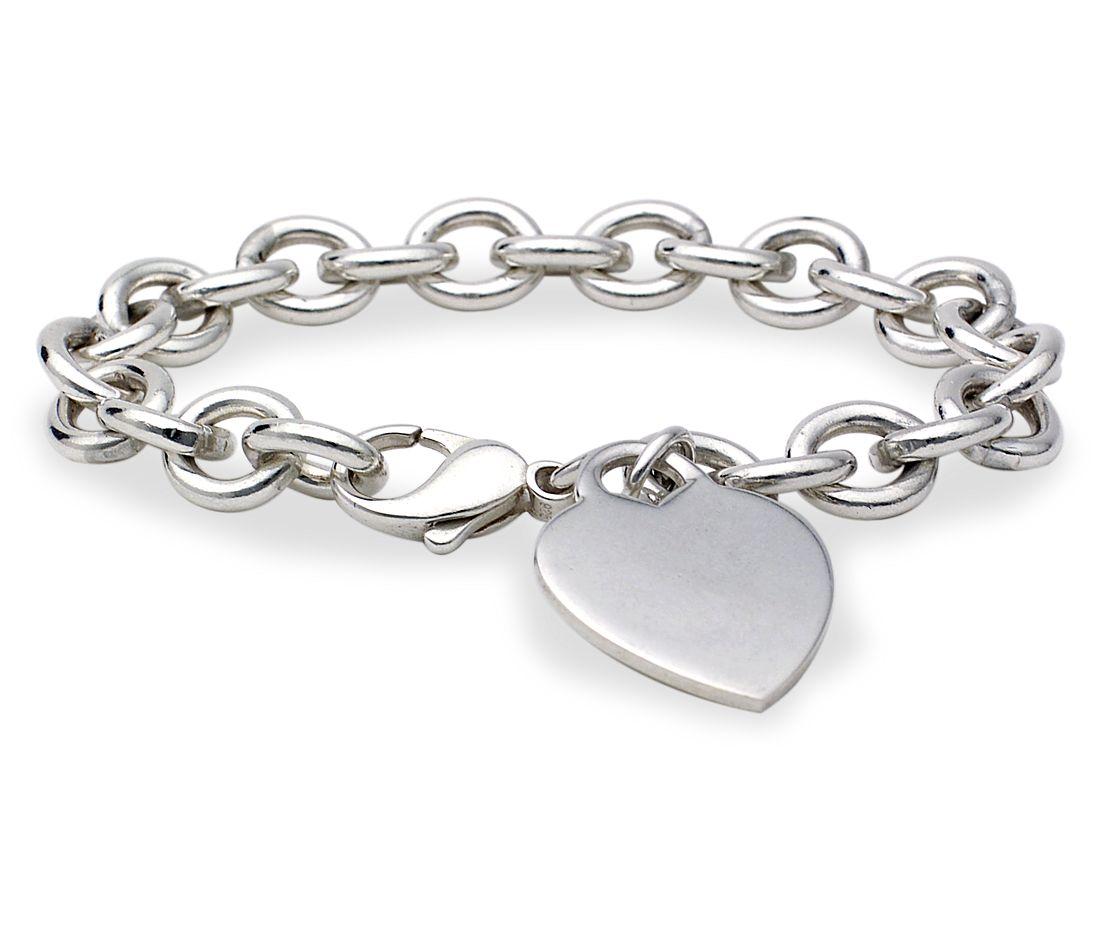 Heart Tag Bracelet In Sterling Silver