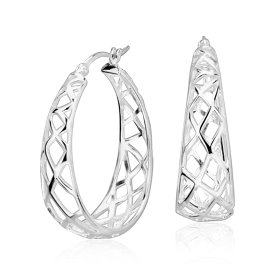 "Oval Designed Hoop Earrings in Sterling Silver (1 1/2"")"