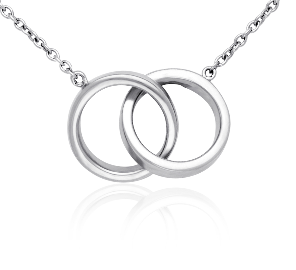 Collar de anillos infinitos en plata de ley