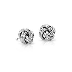 Boucles d'oreilles nœud Love entrelacé en argent sterling