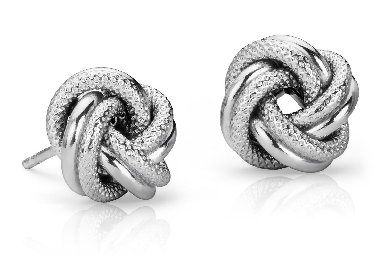 925 纯银互连爱之结耳环