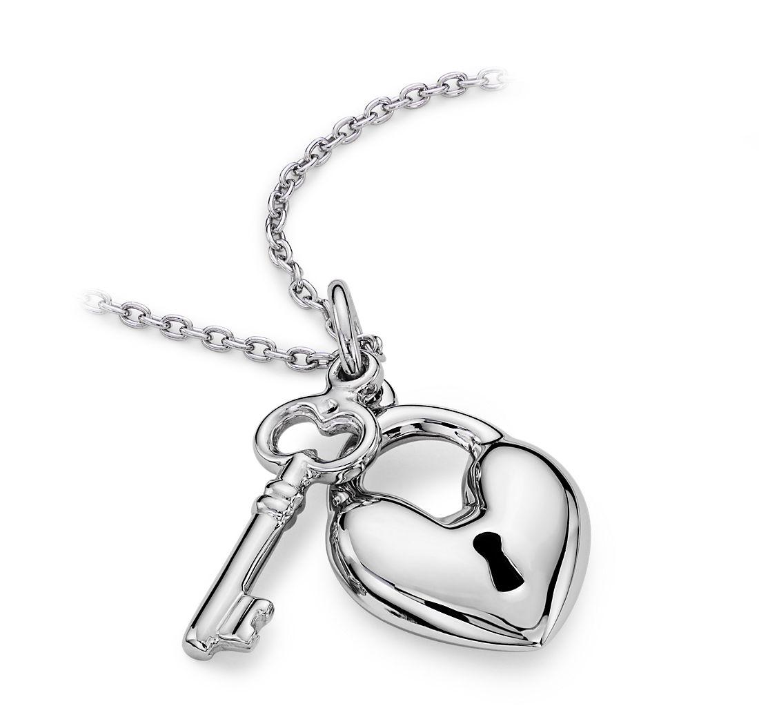 41d64e77ba45 Colgante de corazón y llave en plata de ley