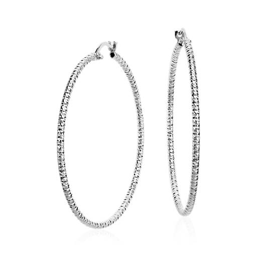 Diamond Cut Large Hoop Earrings In Sterling Silver 1 3 4