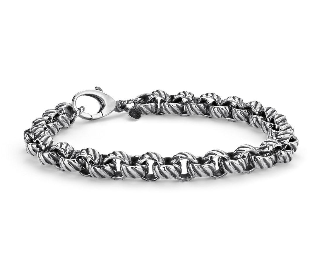 Round Roped Link Bracelet in Sterling Silver