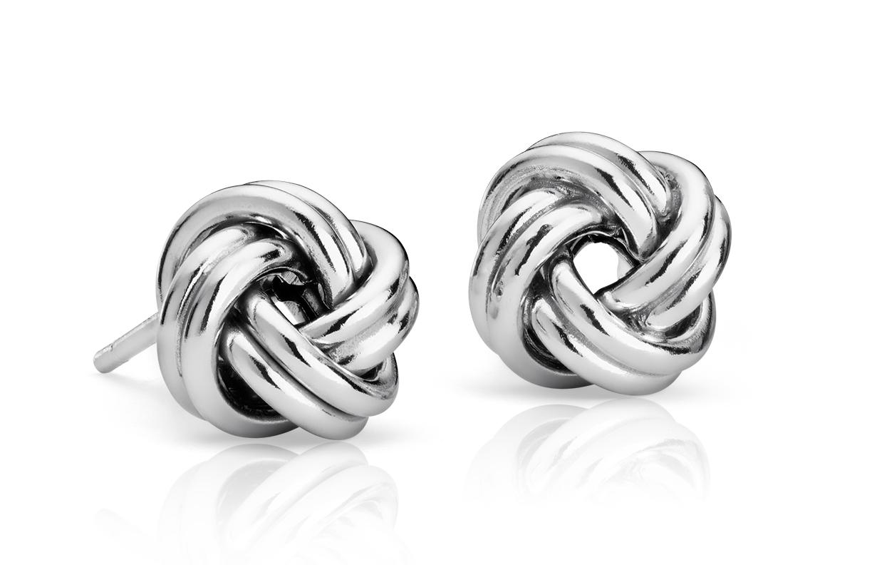 Boucles d'oreilles nœud d'amour en argent sterling