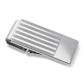 Pin Striped Hinged Money Clip in Sterling Silver