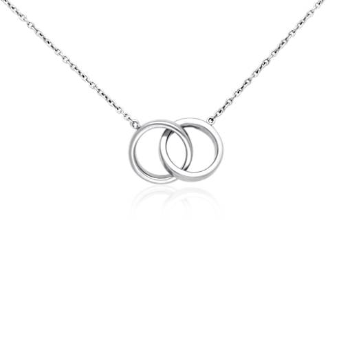 Double rings necklace in sterling silver blue nile mozeypictures Choice Image