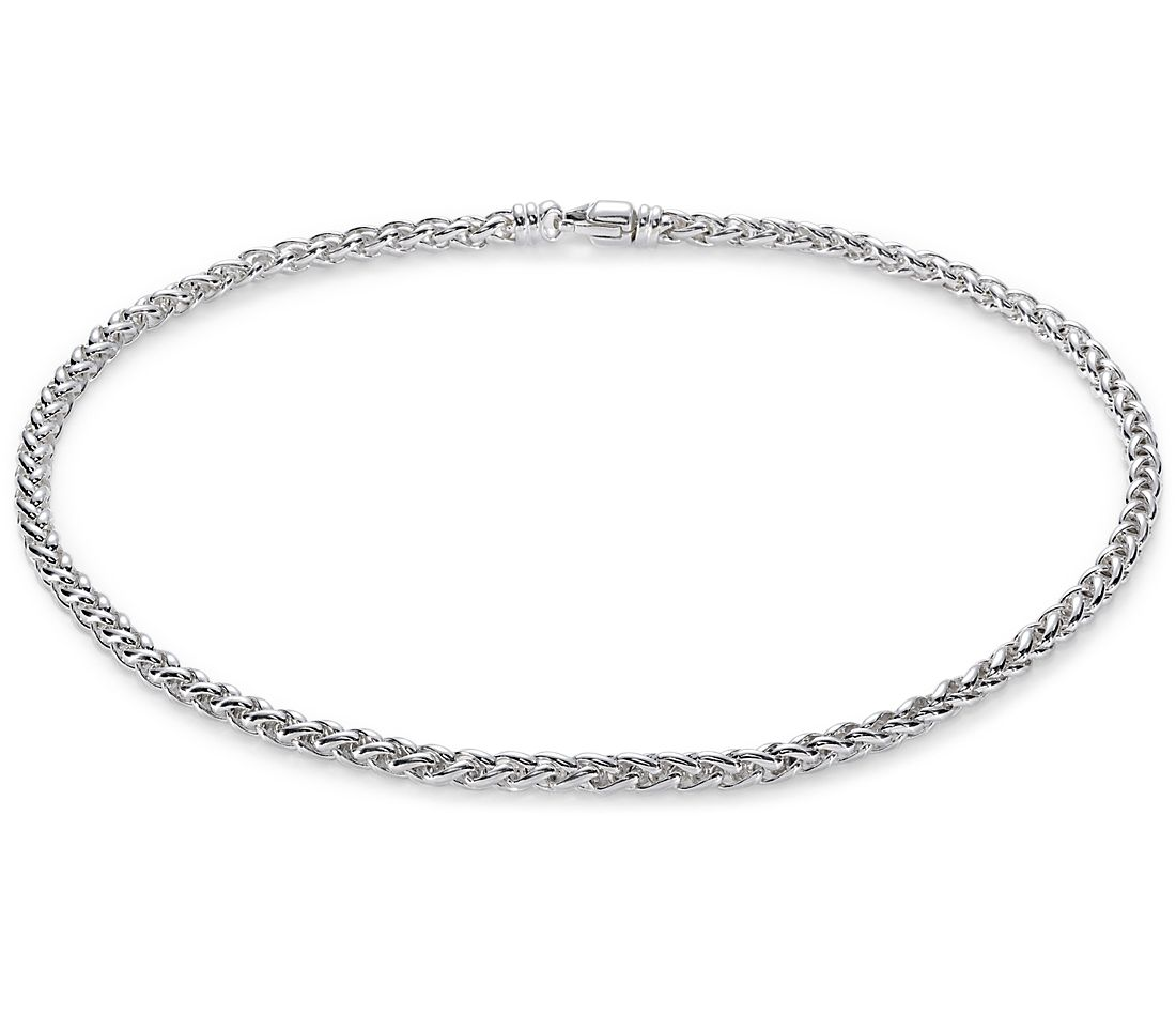 Wheat Chain Necklace in Sterling Silver