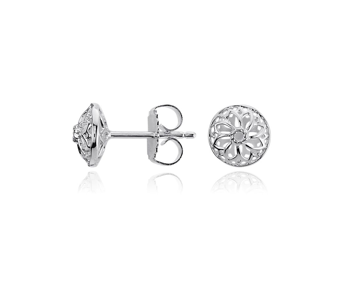 Mini Open Flower Stud Earrings in Sterling Silver
