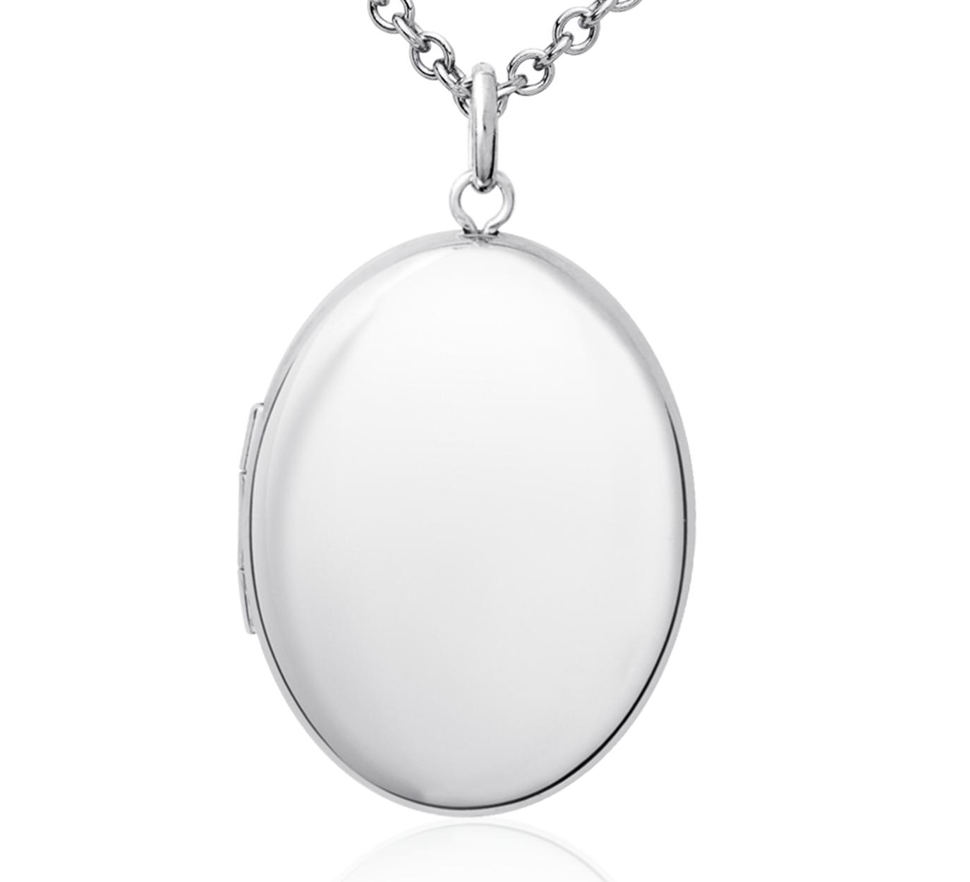 Pendentif médaillon ovale en argent sterling