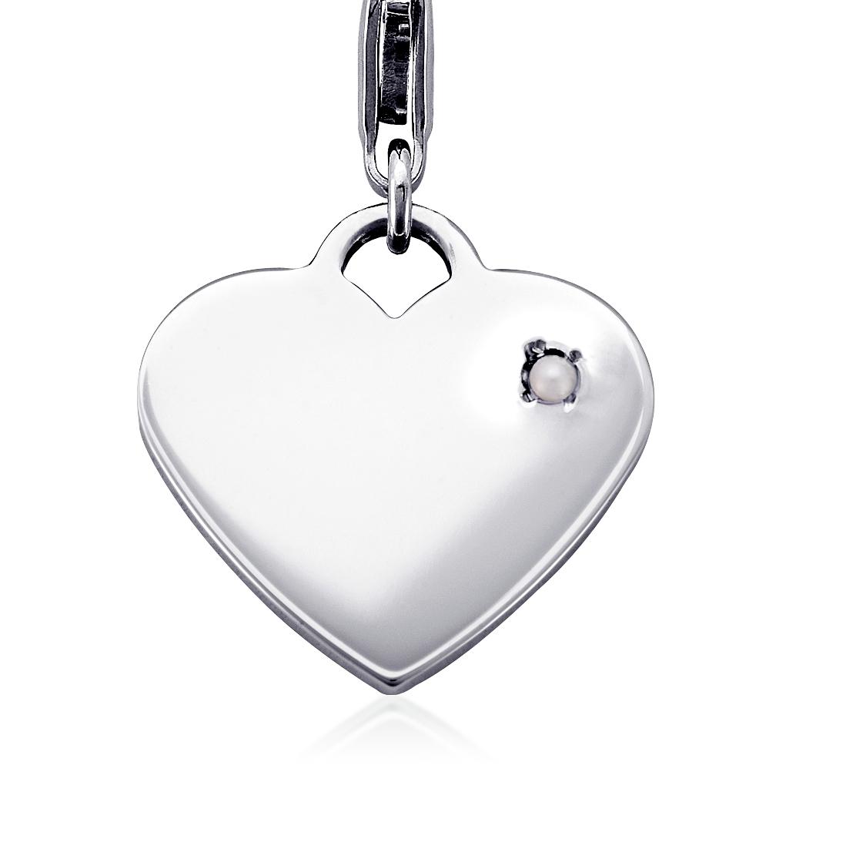 Breloque cœur pierre d'anniversaire perles de culture d'eau douce en argent sterling (Juin)