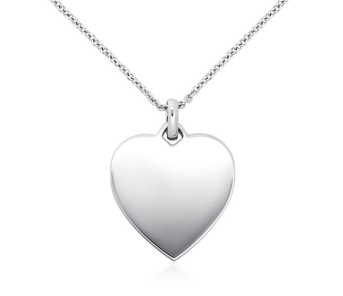 75a38d632d54 Engravable Heart-Tag Pendant in Sterling Silver