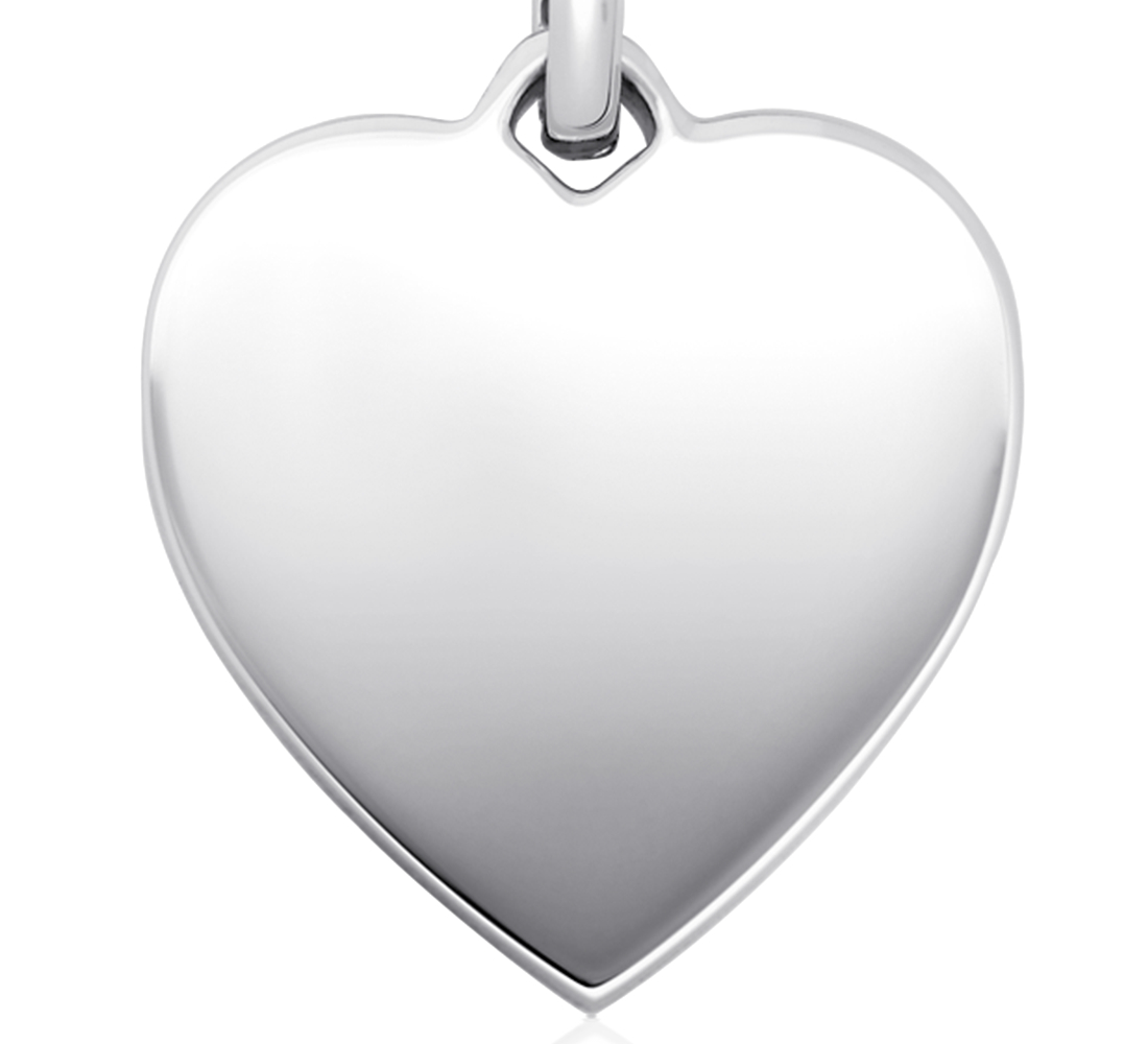 Engravable Heart-Tag Pendant in Sterling Silver