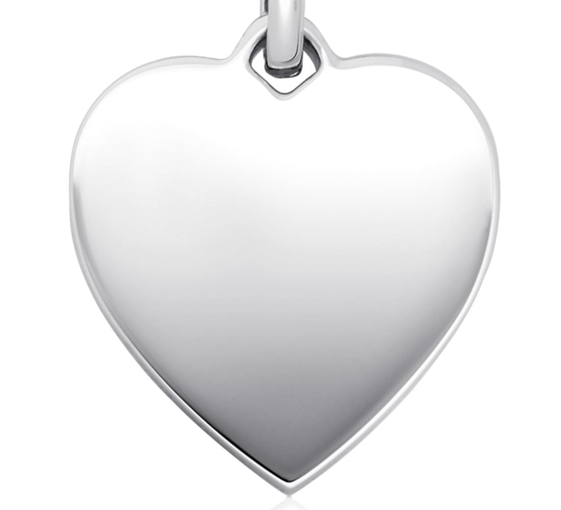 Colgante de corazón para grabar en plata de ley