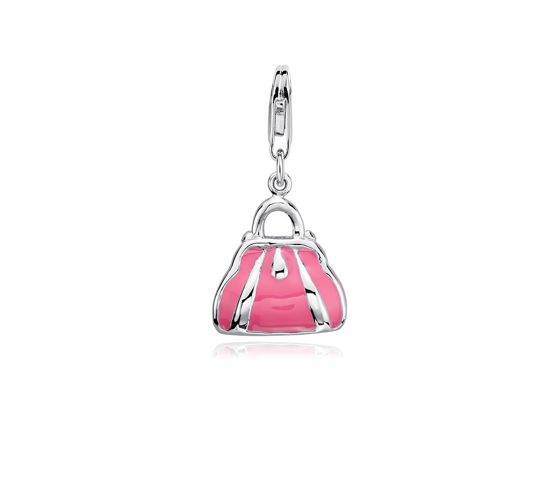 Pink Enamel Purse Charm in Sterling Silver