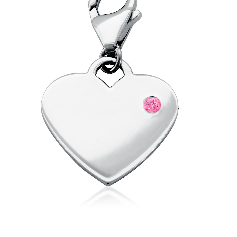 Dije con forma de corazón para piedra natal de turmalina rosada en plata de ley (Octubre)