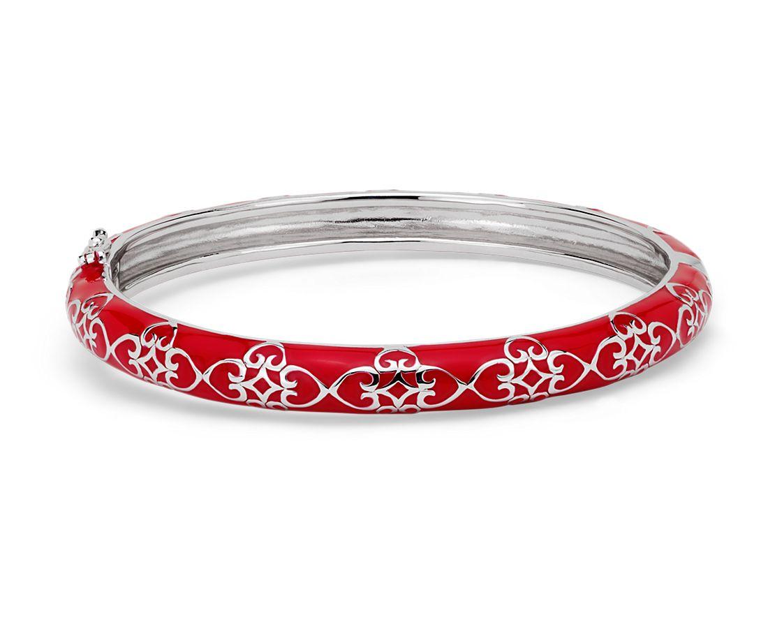 Narrow Red Enamel Bangle Bracelet in Sterling Silver