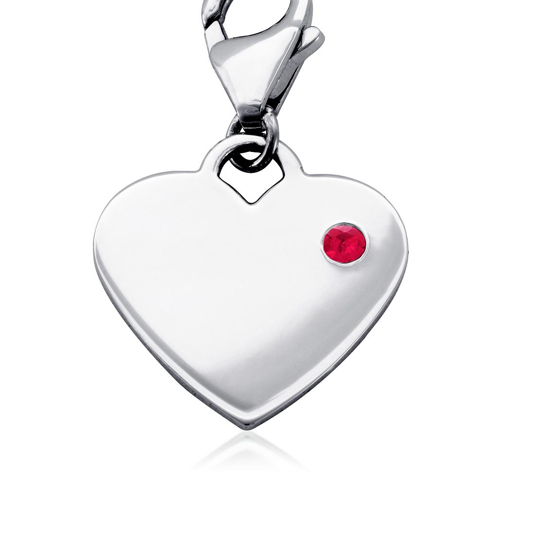 Dije con forma de corazón para piedra natal de rubí en plata de ley (Julio)