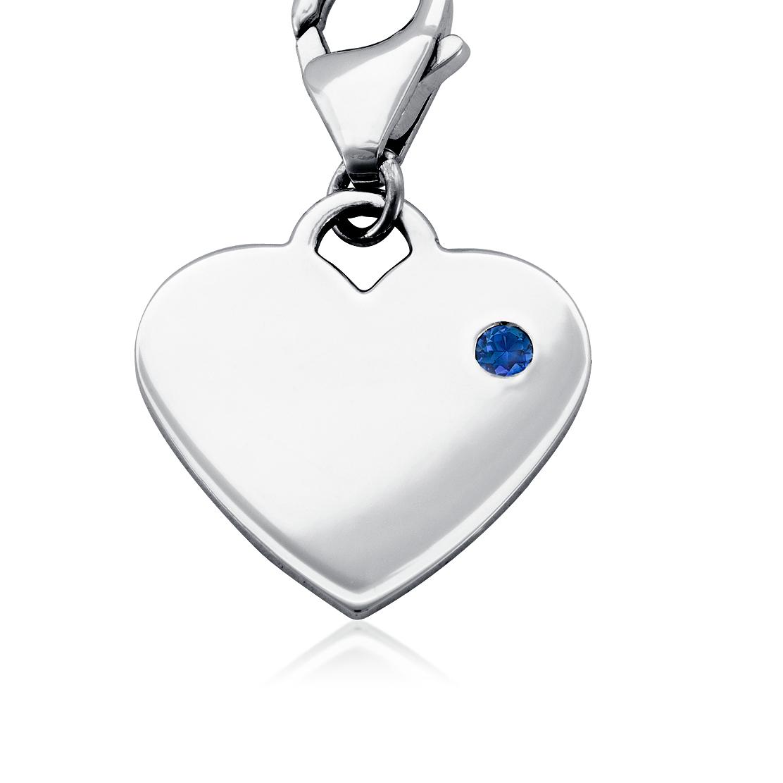 Dije con forma de corazón para piedra natal de zafiro en plata de ley (Septiembre)