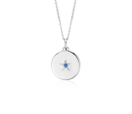 """Sapphire """"Wish"""" Charm Pendant in Sterling Silver"""