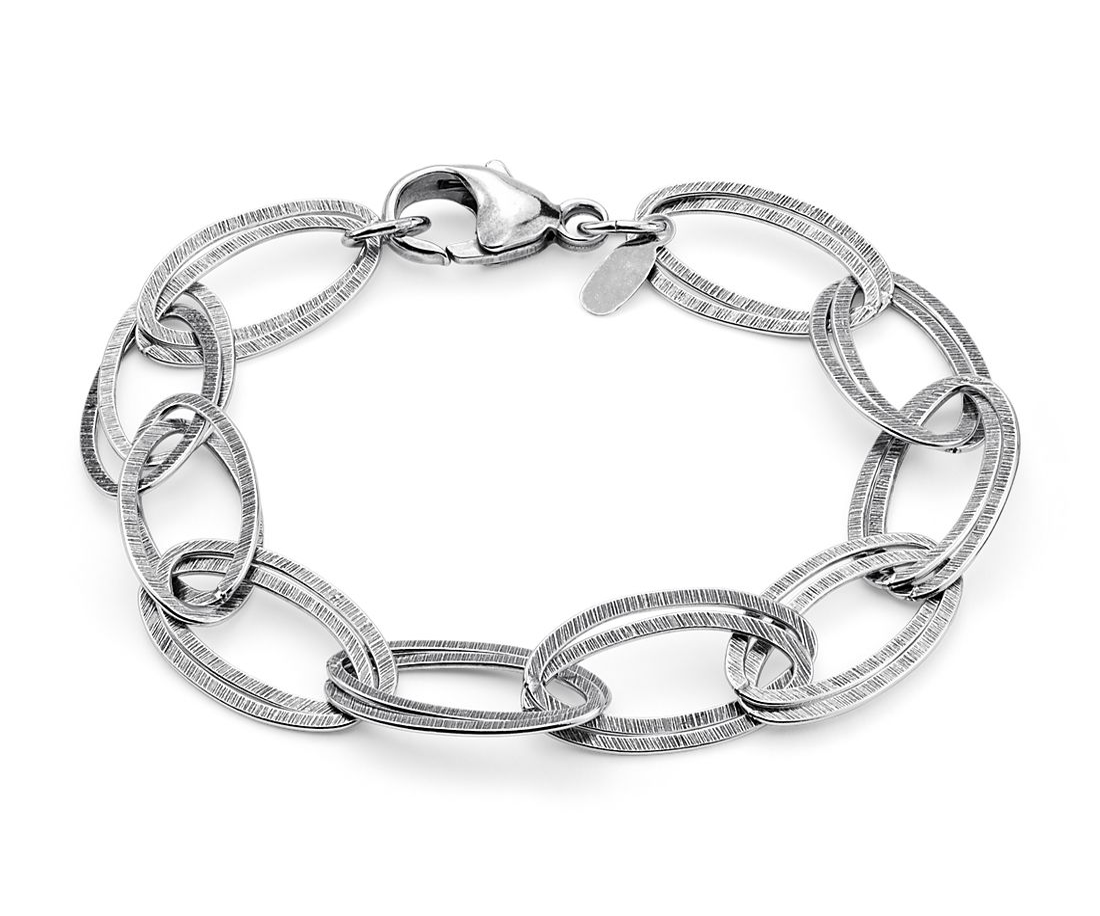 Satin Linked Bracelet in Sterling Silver