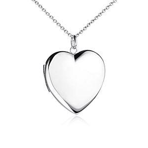 Relicario para grabar con forma de corazón en plata de ley