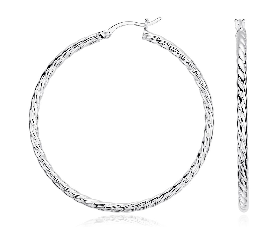 Twisted Hoop Earrings in Sterling Silver (1 3/4'')