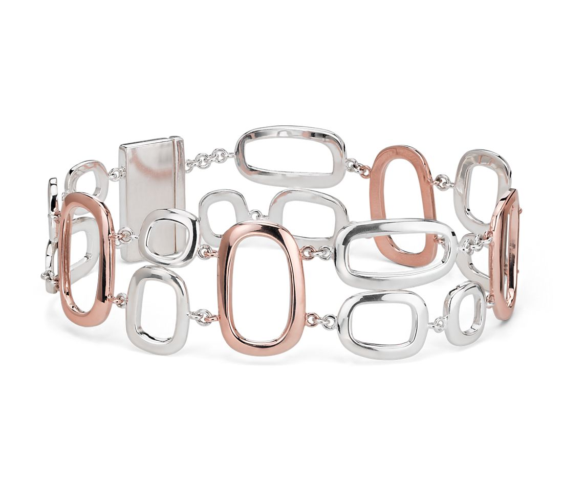 Geometric Linked Bracelet in Sterling Silver and Rose Gold Vermeil