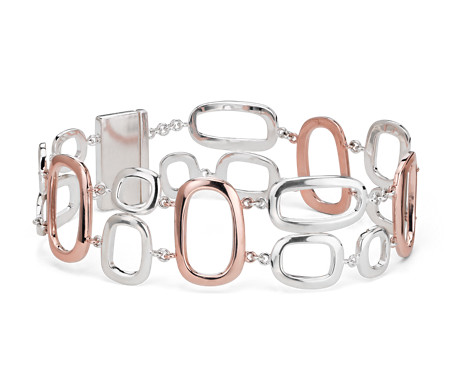 925 纯银几何链状手链与镀玫瑰金制品