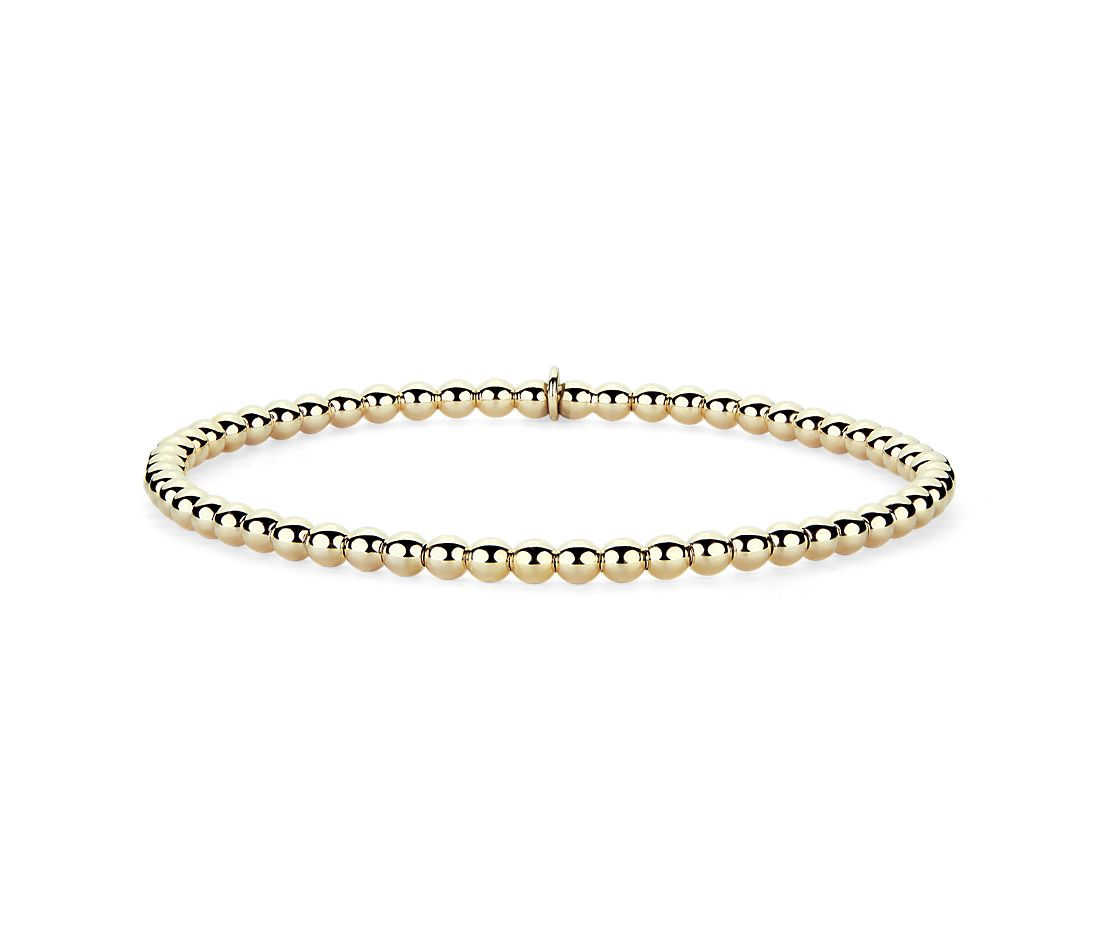 Stretch Bead Bracelet in 14K Yellow Gold