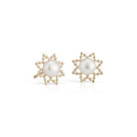 Puces d'oreilles de perles de culture d'eau douce Sunburst en or jaune 14carats