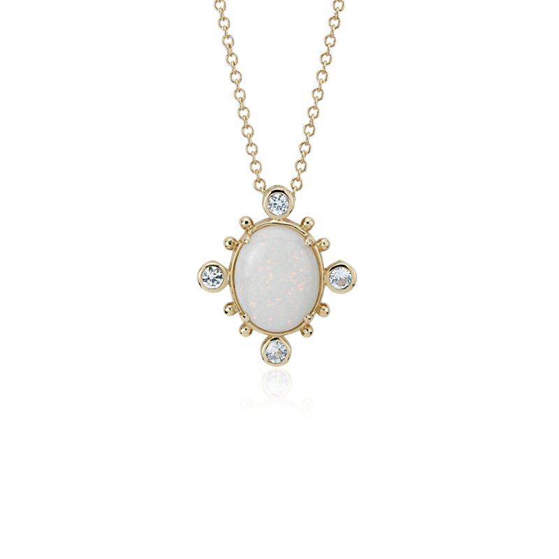 Sunburst Opal and White Sapphire Pendant in 14k Yellow Gold (10x8