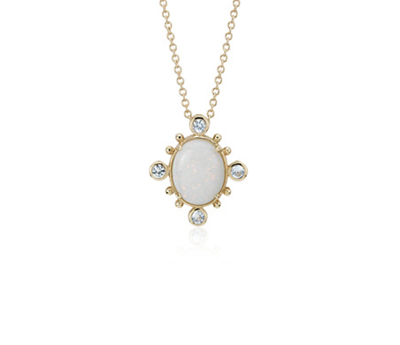 Sunburst Opal and White Sapphire Pendant in 14k Yellow Gold (10x8 mm)