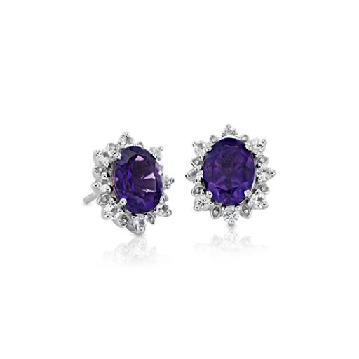 Blue Nile Sunburst Oval Amethyst Stud Earrings in Sterling Silver (8x6mm) Nd2dibx