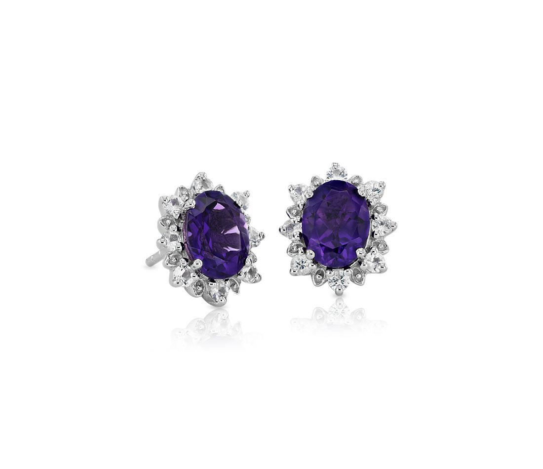 Sunburst Oval Amethyst Stud Earrings In Sterling Silver 8x6mm