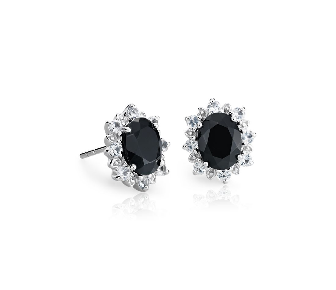 Sunburst Oval Black Onyx Stud Earrings In Sterling Silver 8x6mm
